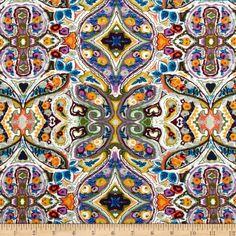 Telio Picasso Rayon Poplin Paisley Lilac/Blue/Purple/Gold