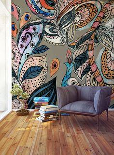 Room wall painting, plant painting, mural wall art, painting on wood, bedro Wall Drawing, Mural Wall Art, Wall Treatments, Wall Design, Decoration, Art Projects, Street Art, Wall Decor, Wallpaper