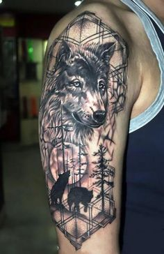 Beautiful wolf tattoo on the shoulder with geometric details. Color: Black. Tags: Cool, Beautiful