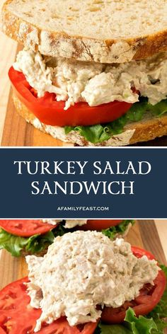Too tired to cook after Thanksgiving? Enjoy this creamy, perfectly-seasoned Turkey Salad Sandwich! Turkey Salad Sandwich, Salat Sandwich, Turkey Sandwiches, Wrap Sandwiches, Sandwich Recipes, Easy Salad Recipes, Yummy Recipes, Soup Recipes, Recipies