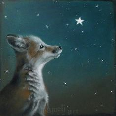 Fox  original canvas painting illustration Acrylic by inameliart, $245.00
