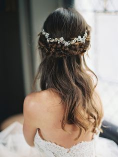 Beautiful bridal braid and hair vine from Enchanted Atelier by Liv Hart