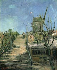 Windmill on Montmartre : Vincent van Gogh : Post Impressionism : cityscape - Oil Painting Reproductions Vincent Van Gogh, Van Gogh Art, Art Van, Claude Monet, Desenhos Van Gogh, Van Gogh Pinturas, Van Gogh Paintings, Dutch Painters, Post Impressionism