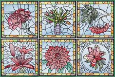 BFC-Creations These flowers are even more beautiful in person. Because of all the angles of the thread they shimmer! They would be perfect for a quilt (when combined with the first Stained Glass Floral Square set you have 12 squares for a quilt), for place mats, the front of a tote bag or mats and table runners. See Stained Glass Floral Squares. Purchase a Thread Kit.