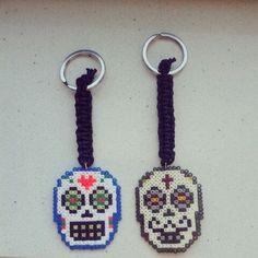 Skulls keyrings hama mini beads by olaibombai