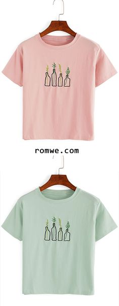 Cute Plant Embroidered T-Shirt - chic design, timeless colorway - rowme.com