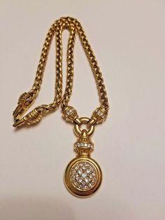 Vintage Swarovski gold tone Pave Crystal necklace Swan Signed #Swarovski