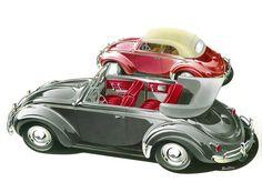 Volkswagen Beetle Convertible (1958-59): Graphic by Bernd Reuters