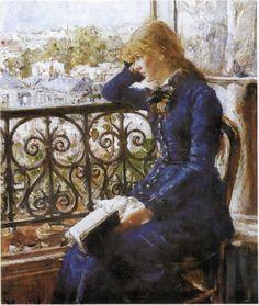 Hans Heyerdahl Faderhuset, 1900, girl reading on balcony