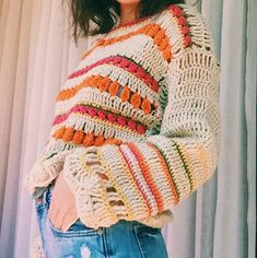 Bohi jersey picture only Crochet Shirt, Crochet Jacket, Crochet Cardigan, Crochet Sweaters, Mode Crochet, Crochet Yarn, Crochet Top, Crochet Woman, Diy Clothing