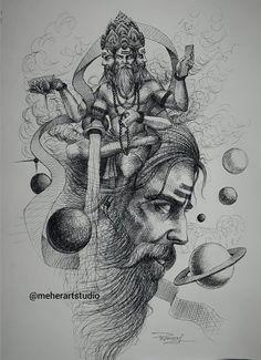 Shiva Art, Krishna Art, Hindu Art, Ganesha Painting, Lord Shiva Painting, Art Drawings Sketches Simple, Cute Drawings, Shiva Sketch, Shiva Tattoo Design