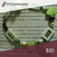 """Leafy Green Bracelet Handmade beaded bracelet with green, silver, white and black beads with a cute leaf charm! 8.25"""" long with clasp. New without tags Jewelry Bracelets"""