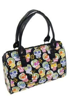 US Handmade Fashion Sugar Skulls CALAVERAS Day Of The Dead Rockabilly Halloween Gothic Doctor Bag Satchel Style handbag pursecotton fabric, DRB1016 -- Continue to the product at the image link.