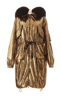 Sequin Parka With Fur Hood by Moschino for Preorder on Moda Operandi