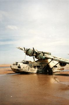 PBY-5A Catalina, a military American seaplane from the 1930's. Abandoned over 50 years ago on a beach off the Strait of Tiran, Gulf of Aqaba, Saudi Arabia.