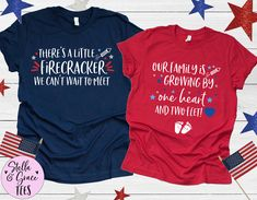 4th of July Pregnancy Announcement, July Fourth Baby Announcement, Couples Baby Announcement Shirts, 4th of July Pregnancy Tees, Baby Reveal Baby Surprise Announcement, Pregnancy Announcement Shirt, Pregnancy Shirts, Mommy And Me Shirt, Mommy And Me Outfits, Valentines Day Baby, Maternity Tees, Couple Shirts, Christmas Shirts