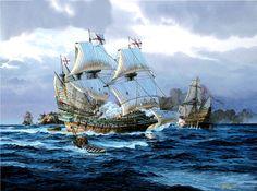 """Levando anclas de nuevo, un dibujo de Tom Freeman, retocado para ustedes por un servidor, mostrándonos al HMS Revenge combatiendo con buques españoles durante la expedición de la """"Invencible"""", Más en www.elgrancapitan.org/foro"""