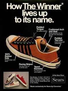 Converse ad, How the Winner Lives Up to its Name, 1972. USA. Source