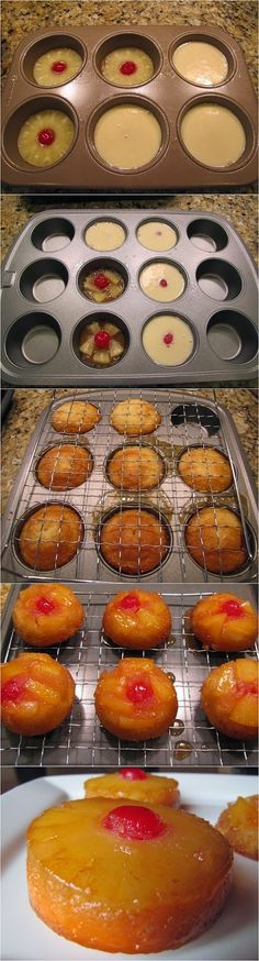 Mini Pineapple Upside Down Cakes. Brown sugar topping with pineapples and cake. They are delicious and quite easy to make. (easy desserts to make mom) Yummy Treats, Sweet Treats, Yummy Food, Food Cakes, Cupcake Cakes, Mini Cakes, Cup Cakes, Baking Cakes, Baking Desserts
