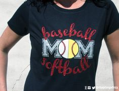BASEBALL SOFTBALL MOM, sparkly baseball and softball glitter shirt - Choose from a Regular Unisex or Ladies' Fitted Fitted tee by RiverImprints on Etsy https://www.etsy.com/listing/226008261/baseball-softball-mom-sparkly-baseball