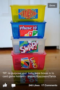 Card games reuse baby wipe containers