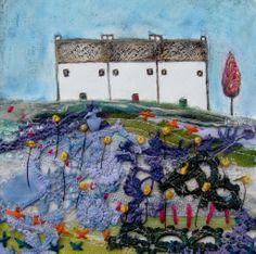 'The cottages on Pankhurst row'  by Louise O'Hara of DrawntoStitch www.drawntostitch.com