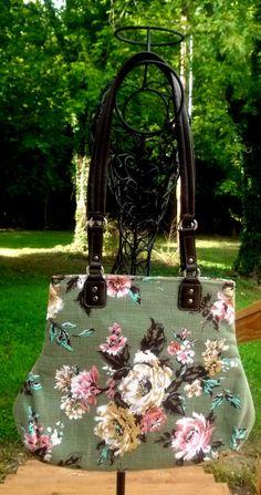 Vintage Barkcloth Bark Cloth Handbag Sage Green by SadiesSnippets