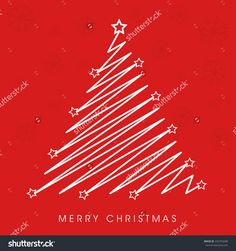 Merry Christmas Celebration With Creative Stylish X-Mas Tree On Snowflake Decorated Red Background. Stock Vector Illustration 232754290 : Shutterstock