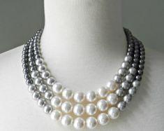 Color Block Triple Decker collar en gris 3 por DemoiselleDesigns