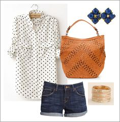 Love polka dots and button downs and rolled up sleeves with red pantsuit=perfect casual work outfit - Summer Mode Style, Style Me, Shoes Style, Spring Summer Fashion, Spring Outfits, Outfit Summer, Casual Summer, Summer Shorts, Look Fashion