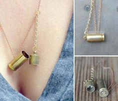 Locket Necklace by SARUSTAR Comes with an option of brass chain or gold plated chain. This spent brass bullet casing makes a lovely little locket hanging from a chain. Capped with a brass plug and perfect for storing a tiny keepsake or love note. Bullet Jewelry, Jewelry Box, Jewelery, Jewelry Making, Gold Jewellery, Boho Jewelry, Vintage Jewelry, Jewelry Design, Locket Necklace