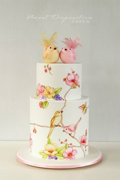 Painted birds and flowers cake - Sweet Disposition Cakes.