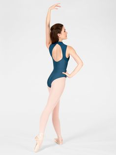"""Wallis"" Adult Mock Turtleneck Tank Leotard by WEAR MOI  Mock turtleneck tank leotard features a dramatic open back with ribbed microfiber detailing along the upper chest and back. Other features include a button closure on the neck for easy dressing, a soft microfiber body, full front lining and a ballet cut leg line.  S$59.91"