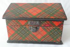 ANTIQUE McLEAN TARTAN WARE UNUSUAL HOUSE SHAPED TRINKET BOX - NICE ITEM | eBay