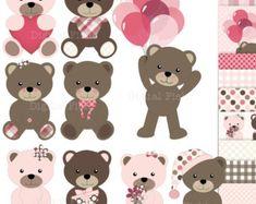 4 Seasons Bear Clip art and digital paper set by pixelpaperprints