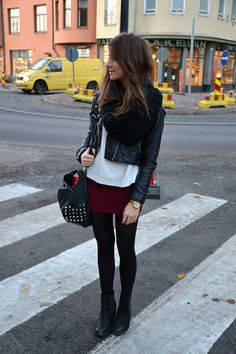 Outfit. Black scarf, jacket, bag, shoes, and leggings. White top. Maroon skirt.