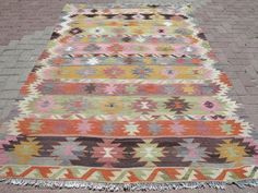 VINTAGE Turkish Kilim Rug Carpet Handwoven Rug door TurkishKilimRug
