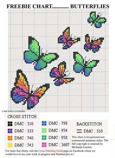 Embroidery Stitches Gorgeous Butterfly Cross-Stitch Chart - I don't usually share cross stitch charts from Russian or Eastern European websites, because I'm pretty sure they are all copyright violations, but at least this one has some kind of cr… Counted Cross Stitch Patterns, Cross Stitch Designs, Cross Stitch Embroidery, Embroidery Patterns, Free Cross Stitch Charts, Hand Embroidery, Cross Stitch Bookmarks, Vintage Cross Stitches, Motifs Perler