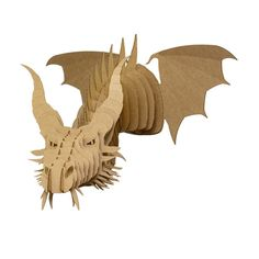 Nikita Jr Medium Cardboard Dragon Head Brown by CardboardSafari