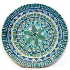 KIT - Starter Kit with Bamboo dish Teal -  This is our all time best selling starter kit by Roos Kleurig. The bamboo dish, tiles, decorations, glue, cutting tool, grout, photo and instructions are all included. This is the perfect way to start your mosaic adventure or give it as a gift to anyone with an artistic flair. Follow this design or make up your own...let your creativity flow! #mosaic