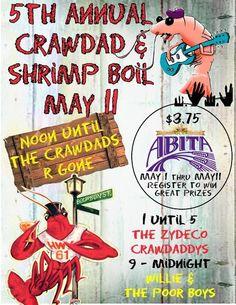 Crawfish boil Saturday May 11.