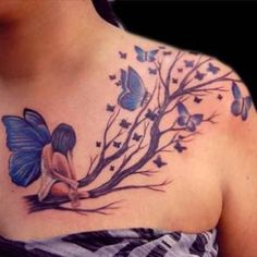 Realistic tattoo design for women. Tree branches, butterflies and fairy.