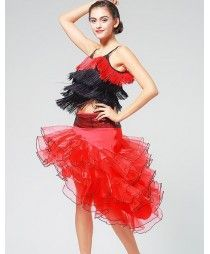 Black red patchwork women's ladies fringes female strap competition performance latin salsa cha cha dance dresses sets