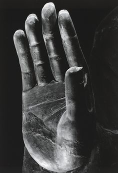 Close up of a hand of Great Buddha of Asuka-dera temple, 609A.C., Important Cultural Property of Japan: photo by DOMON Ken 飛鳥寺金堂釈迦如来坐像 撮影 1965年