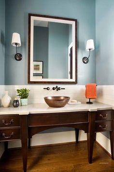 Viatera | Natural Limestone | Garrison Hullinger Interior Design | simple and elegant half bathroom with beautiful colors #Quartz #BathroomRenovation