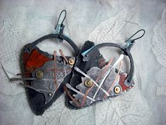 Earrings | Tracy DiPiazza.  Vintage printed tin, pewter, copper, brass and sterling silver.