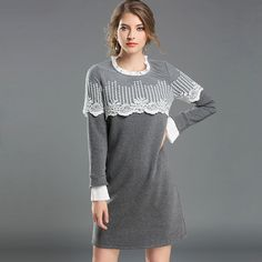 Women Plus Size Winter Dress Fleece Lined Lace Layered Casual Thermal Dresses Grey L to 5xl