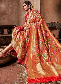 0959fedcc0d19 Buy Online Designer Banarasi Silk Fabric Red Traditional Saree SFS420