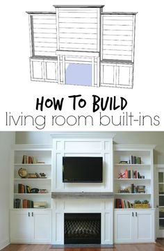 """Room Built-Ins """"Tutorial"""" + Cost How to Build Living Room Built-ins – You won't believe the price!How to Build Living Room Built-ins – You won't believe the price! Living Room Built Ins, Home Living Room, Living Room Decor, Decor Room, Kitchen Living, Wall Decor, Fireplace Built Ins, Fireplace Bookshelves, Fireplace Wall"""