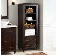 Buy the Signature Hardware 414459 Espresso Direct. Shop for the Signature Hardware 414459 Espresso Keller Mahogany Linen Storage Cabinet and save. Bathroom Cabinet With Drawers, Linen Storage Cabinet, Vanity Cabinet, Bathroom Cabinets, Storage Cabinets, Bathroom Furniture, Bathroom Storage, Bathroom Ideas, Bathroom Renovations